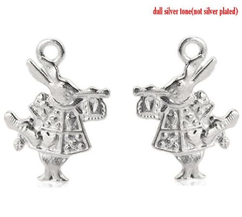 25 Silver Double Sided Alice in Wonderland Rabbit Charms 19 x 14 mm
